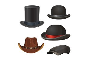 Hat for men set isolated on white vector illustration