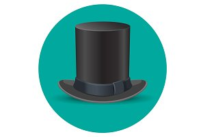 Black male top hat isolated on green circle