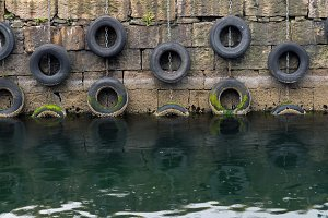 Protective tires in a sea port