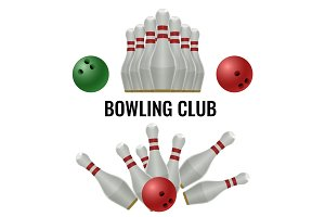 Bowling club logo design of equipment for play. Vector illustration
