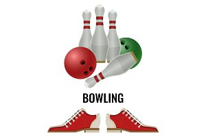 Bowling club logo design of equipment for play and pair of footwear