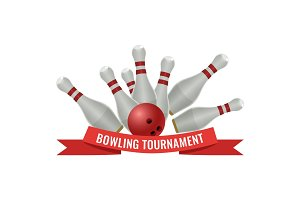 Bowling tournament logo design of strike made by ten-pin ball