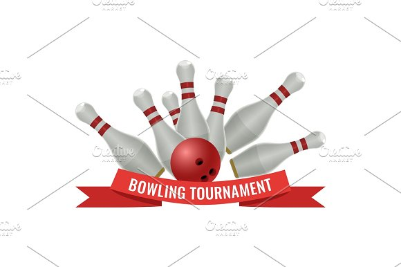 Bowling Tournament Logo Design Of Strike Made By Ten-pin Ball