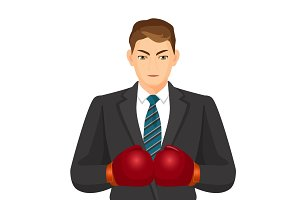 Businessman in suit and boxing gloves isolated on white
