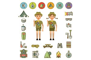 Scout boy and girl and equipment signs around