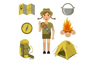 Scout girl showing honor hand sign and equipments set near