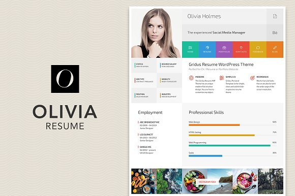 Tag wordpres themes themesearch meet olivia the minimal and clean resume vcard portfolio wordpress theme this curriculum vitae theme comes with flat lightweight design and is ideal for yelopaper Gallery