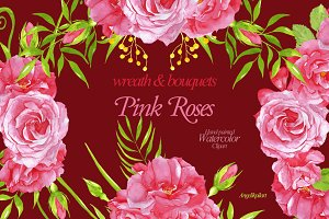 watercolor PinkRoses wreath&bouquets