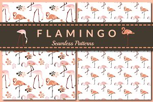 Pink Flamingo - seamless patterns