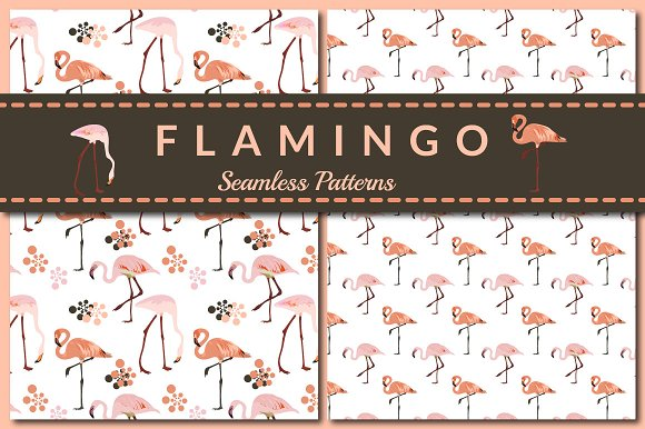 Pink Flamingo Seamless Patterns