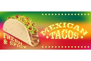 Mexican tacos poster or banner template
