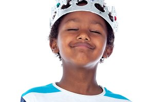 Funny african child with a crown