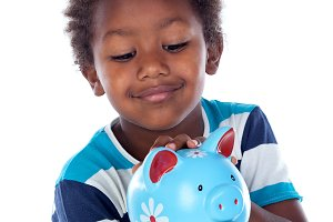 Funny african child with moneybox