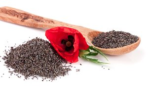 Poppy seeds in a wooden spoon with a flower