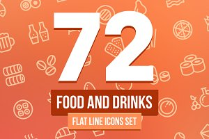 Food and Drinks Line Icons Set
