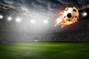 Burning soccer ball on stadium