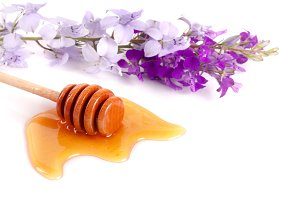 Honey stick with flowing honey and wildflowers isolated on white background