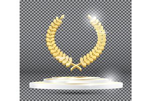 Gold Laurel Wreath on Podium
