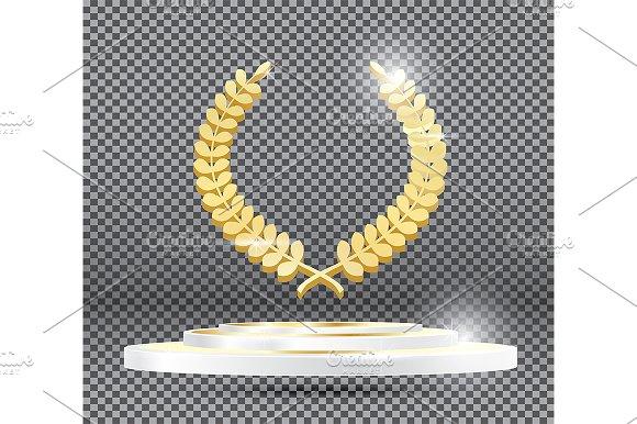 Gold Laurel Wreath On Podium