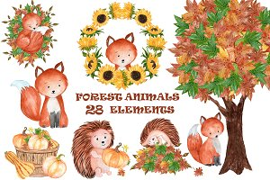 Watercolor forest animals clipart