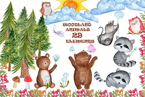 Watercolour forest animals clipart