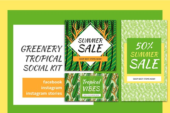 Greenery Tropical Social Media Kit