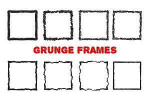 Crayon square frames isolated on white