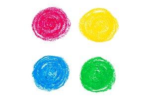 Oil pastel circles.