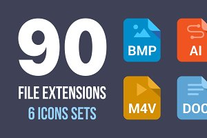90 File Type Colored Flat Icons Set
