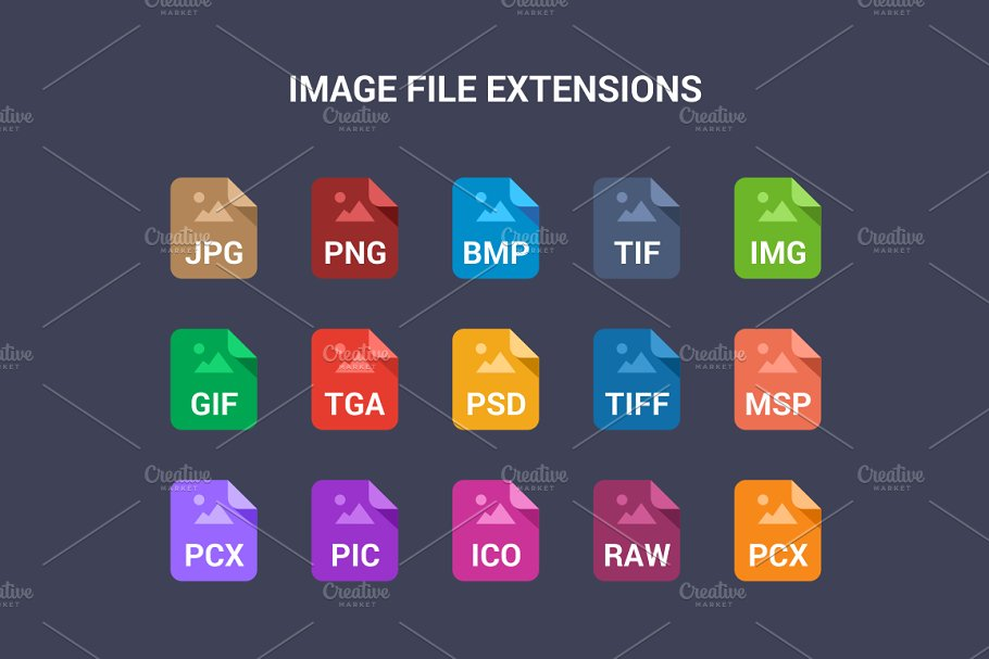 90 File Type Colored Flat Icons Set in UI Icons - product preview 1