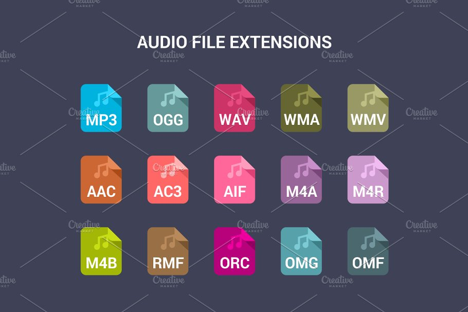 90 File Type Colored Flat Icons Set in UI Icons - product preview 3