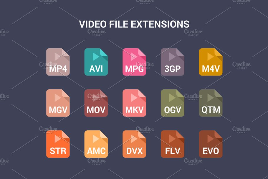 90 File Type Colored Flat Icons Set in UI Icons - product preview 4
