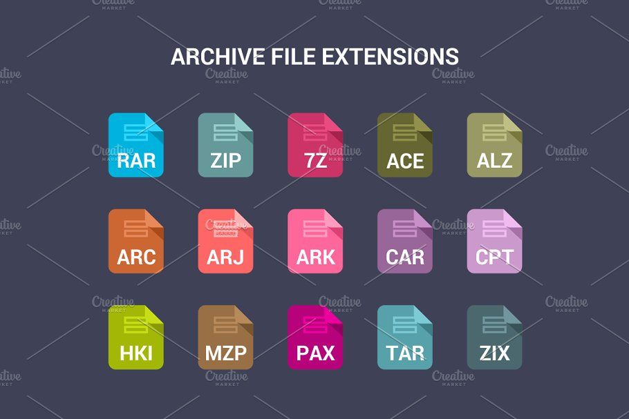 90 File Type Colored Flat Icons Set in UI Icons - product preview 6