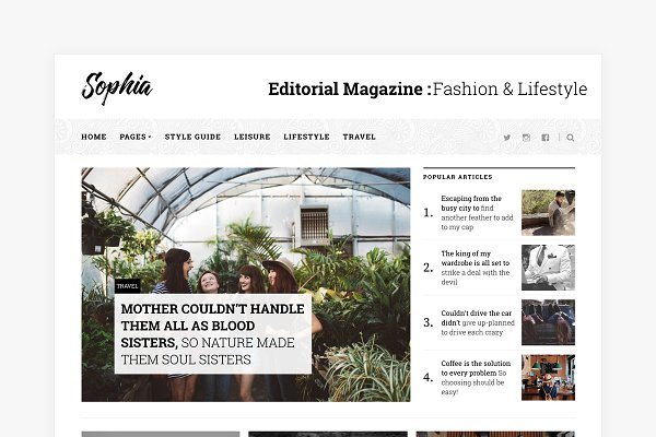 WordPress Magazine Themes: Basepixels - Sophia - Magazine WordPress Theme