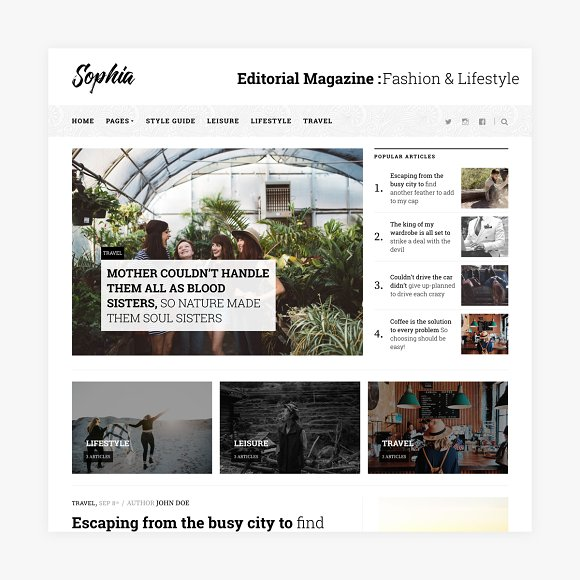 Sophia Magazine WordPress Theme