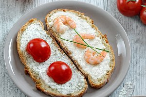 Two open sandwiches