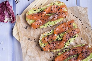 bruschetta with avocado and smoked salmon