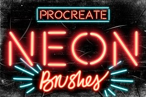 Set of 9 Neon Procreate brushes