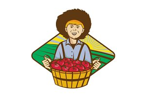 Farmer Boy Straw Hat Tomato Harvest