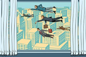 Businessmen fly past the window