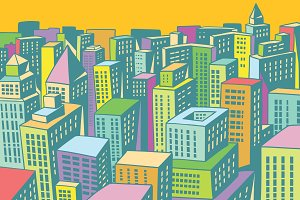 colorful buildings of the modern city background