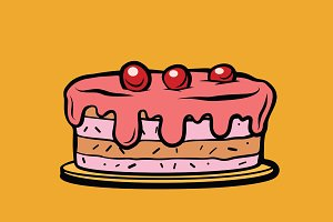 cherry berry cake illustration