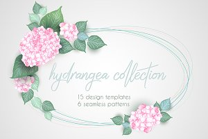 Hydrangea set: 15 cards, 6 pattern