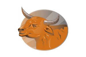 angry bull head retro
