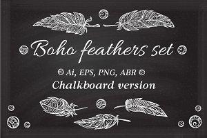 Boho feathers set. Chalkboard ver.