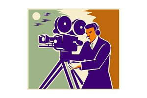 Cameraman Film Crew Vintage Video Mo