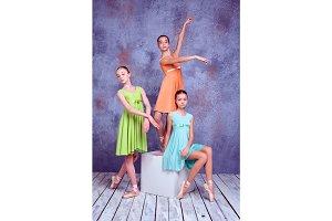 Three young ballerinas