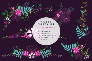 FLORAL SYMPHONY -Vector Flowers Set