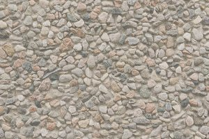 Wall covered with pink pebbles