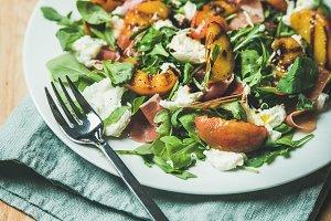 Mozzarella and grilled peach salad
